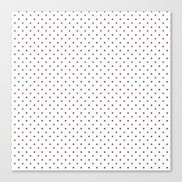 Nautical navy blue red modern polka dots pattern Canvas Print
