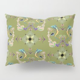 Tropical brocade Celtic knot work with succulent floral and lizards on a green background Pillow Sham