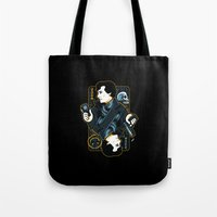 221b Tote Bags featuring The Detective of 221B by WinterArtwork
