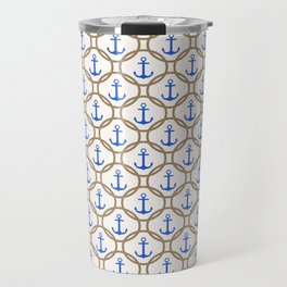 Seamless nautical pattern with blue anchors and rope on white background Travel Mug