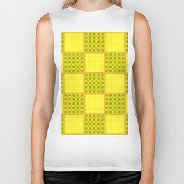 YELLOW CHECKS WITH POLKA DOTS Biker Tank