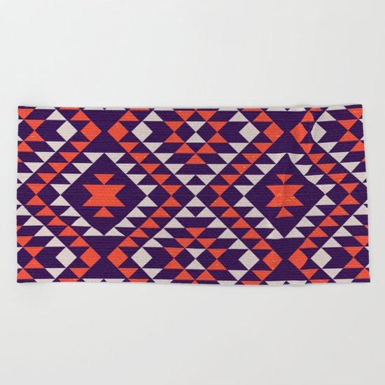 Geometric tribal pattern Beach Towel