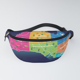 Australia map cartoon illustration Fanny Pack