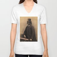 photograph V-neck T-shirts featuring Lord Vadersworth by Terry Fan
