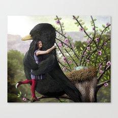 Girl embraces Blackbird Canvas Print
