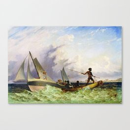 Long Boat off the Coast of Africa by Thomas Baines Canvas Print