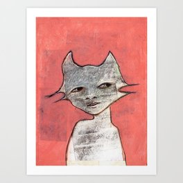 Cat Woman Art Print