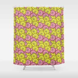 Summer Doodle - Pink and Yellow Lemons Pattern Shower Curtain