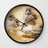 sparrow Wall Clocks featuring Sparrow by Kimberley Britt