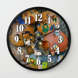 Fall Pumpkin Fantasy Tiny House Village Wall Clock