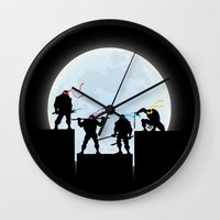 ninja turtles Wall Clocks featuring Teenage Mutant Ninja Turtles by offbeatzombie