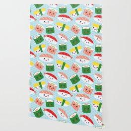 pattern Kawaii funny sushi rolls set with pink cheeks and big eyes, emoji Wallpaper