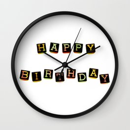 Happy Birthday Blocks Wall Clock