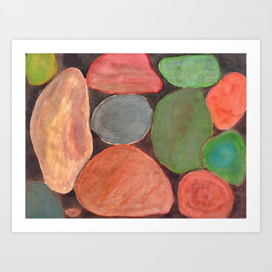 Lovely colorful Stones on dark Background Art Print