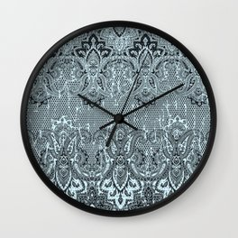 the royal paisley in light teal Wall Clock