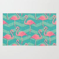 flamingo Area & Throw Rugs featuring Flamingo by Julia