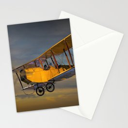Yellow Biplane with Sunset Cloudy Sky Stationery Cards