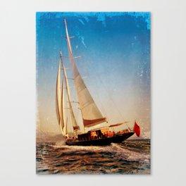 sailboat in grunge background Canvas Print