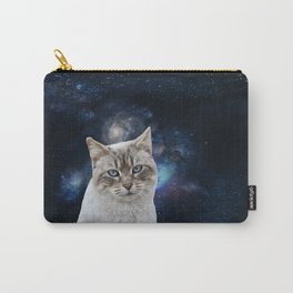 white kitty in space Carry-All Pouch