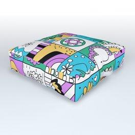 Inchie Doodle Design - Aqua Yellow - Spring Outdoor Floor Cushion