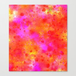Watercolor Painting Bright Red & Summer Pink Abstract Paint Splashes Canvas Print