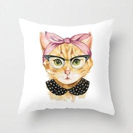 Retro Kitty Throw Pillow