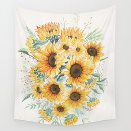 Loose Watercolor Sunflowers Wall Tapestry