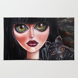 Batgirl Victorian Goth Girl with Grey Bat Big Green Eyes Rug