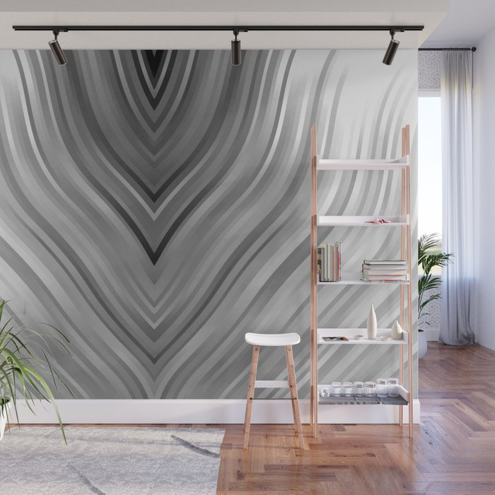 stripes wave pattern 3 bwgri Wall Mural