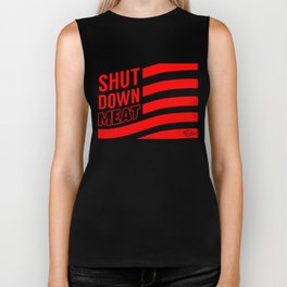 """Shut Down Meat"" by Ben Capozzi Biker Tank"