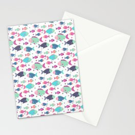 Modern neon pink teal polka dots cute nautical fish illustration Stationery Cards