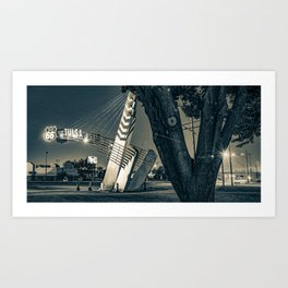 Route 66 Tulsa Oklahoma Western Gateway Arch At Dawn Panorama in Sepia Art Print