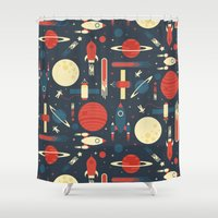 stickers Shower Curtains featuring Space Odyssey by Tracie Andrews