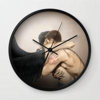 destiel Wall Clocks featuring Hold me tight by Tsuki-Nekota