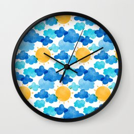 Risograph Clouds and Suns Wall Clock