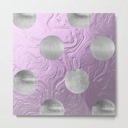 Cute big silver polka dots on purple background Metal Print