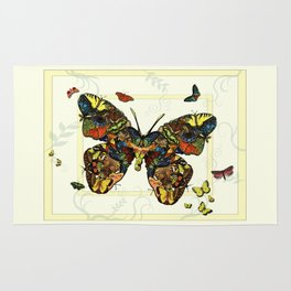 Colorful Butterfly Collage Rug