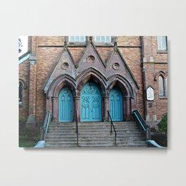 Three Turquoise Doors  Metal Print