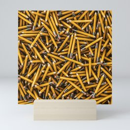 Pencil it in / 3D render of hundreds of yellow pencils Mini Art Print