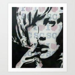 GIRL SMOKING Art Print