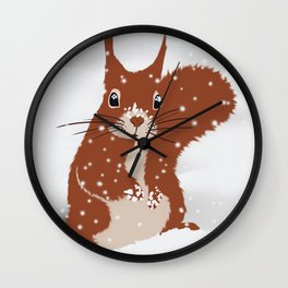 Red squirrel in the winter snow with white snowflakes cute home decor nursery drawing Wall Clock
