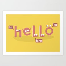 Monster Hello Art Print