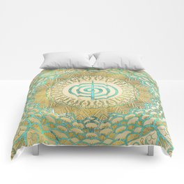 Pastel and Gold  Choku Rei Symbol in Mandala Comforters