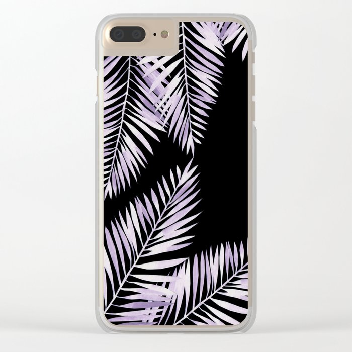 Watercolor tropical palm leaves purple Clear iPhone Case