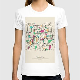 Colorful City Maps: Jakarta, Indonesia T-shirt