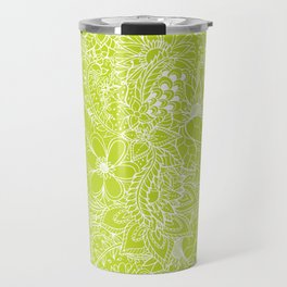 Modern white hand drawn floral lace illustration on lime green punch Travel Mug