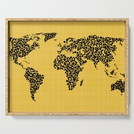 Yellow world map Serving Tray