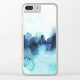 Wonderful blues Abstract watercolor Clear iPhone Case