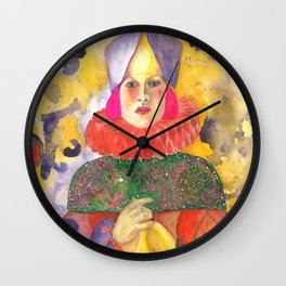 Portrait of a Pink haired Queen Wall Clock