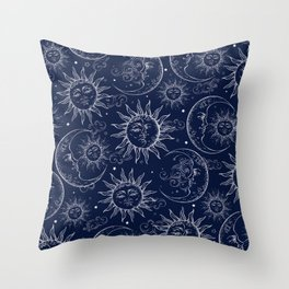 Blue Magic Celestial Sun Moon Stars Throw Pillow